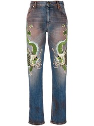 Gucci Jeans With Dragons Women Silk Cotton Calf Leather Rayon 27 Blue