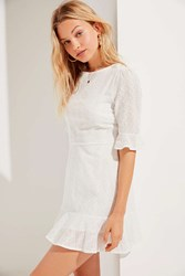 Urban Outfitters Uo Embroidered Eyelet Ruffle Mini Dress White