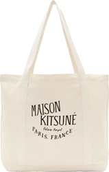 Maison Kitsune Off White Canvas Logo Tote Bag