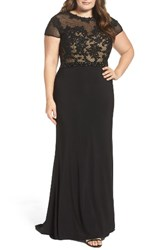 Mac Duggal Plus Size Women's Embellished Crochet And Jersey Gown