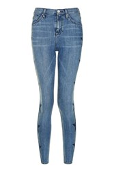 Topshop Moto Star Embroidered Jamie Jeans Blue
