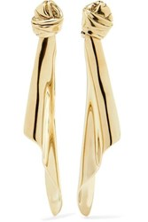 Saint Laurent Gold Tone Clip Earrings One Size