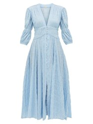 Cult Gaia Willow Ruched Cotton Blend Maxi Dress Blue