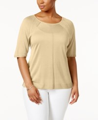 Anne Klein Plus Size Scoop Neck Sweater Wheat