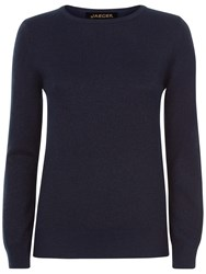 Jaeger Cashmere Blend Metallic Sweater Navy