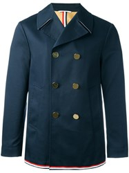 Thom Browne Double Breasted Peacoat Blue