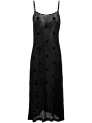Comme Des Garcons Vintage Sheer Polka Dot Slip Dress Black