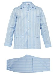 Derek Rose Lingfield Jacquard Stripe Cotton Pyjamas Light Blue