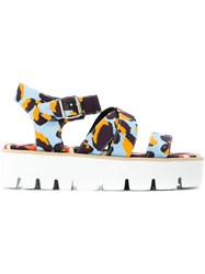 Msgm Animal Print Strappy Platform Sandals Multicolour