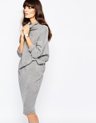 Paisie Roll Neck Wrap Knit Dress Grey