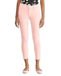Ralph Lauren High Rise Skinny Crop Frayed Hem Jeans In Pink