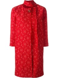 Ermanno Scervino Brooch Lace Coat Red