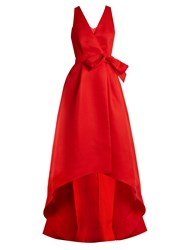 Oscar De La Renta Cut Out Back Wrap Front Silk Gazar Gown Red