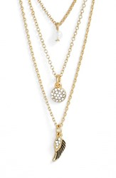 Women's Sequin 'Color Karma' Triple Strand Pendant Necklace Gold Wing