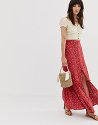 Band Of Gypsies Button Front Tiered Maxi Skirt