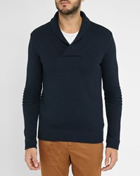 Ikks Navy Shawl Collar Sleeve Detail Sweater