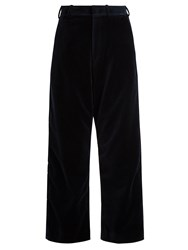 Vetements X Brioni Wide Leg Velvet Cropped Trousers Navy