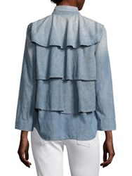 Amo Ruffle Army Chambray Jacket Med Chambray