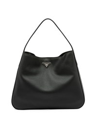 Prada Vitello Daino Medium Wide Strap Hobo Bag Black Nero Men's
