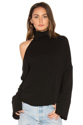 Tibi Asymmetrical Cut Out Shoulder Top Black