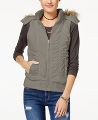 American Rag Juniors' Hooded Puffer Vest Created For Macy's Cinder
