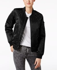 Madden Girl Lace Up Bomber Jacket Black