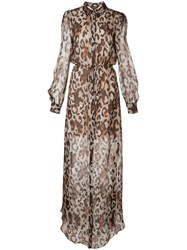 Rachel Zoe Sheer Leopard Print Dress Brown