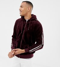 Soul Star Tall Zip Through Teddy Hoodie With Taping Red