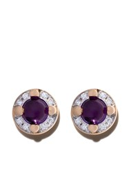 Pomellato 18Kt Rose Gold M'ama Non M'ama Amethyst And Diamond Earrings Violet