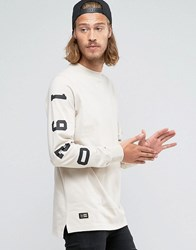 New Era Crafted Long Sleeve T Shirt With Sleeve Print Beige