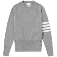 Thom Browne Milano Stitch 4 Bar Crew Knit Grey