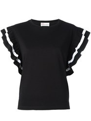 Red Valentino Ruffle Sleeve T Shirt Black