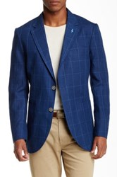 Tailorbyrd Two Button Notch Lapel Linen Sports Jacket Blue