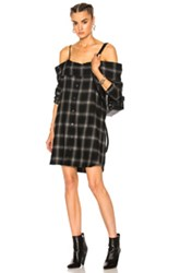 R 13 R13 Slip Shirt Dress In Green Plaid Green Plaid