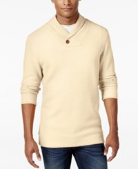 Tasso Elba Men's Big And Tall Honeycomb Textured Shawl Collar Sweater Only At Macy's Shortbread Heather