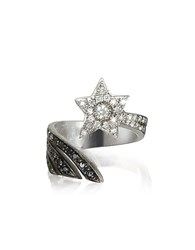 Bernard Delettrez Shooting Star 18K White Gold Midi Ring W White Grey And Black Diamonds