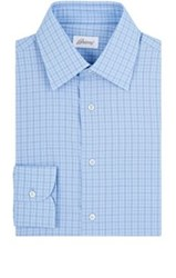 Brioni Men's Grid Check Cotton Poplin Shirt Light Blue Navy Light Blue Navy