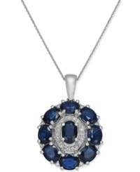 Macy's Sapphire 4 1 4 Ct. T.W. And Diamond 1 8 Ct. T.W. Oval Cluster Pendant Necklace In 14K White Gold
