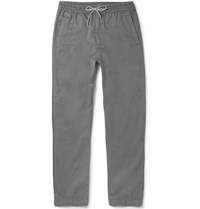 Folk Tapered Drawstring Cotton Trousers Gray