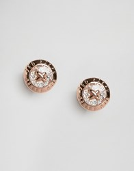 Ted Baker Glitter Mini Button Earrings Rose Gold