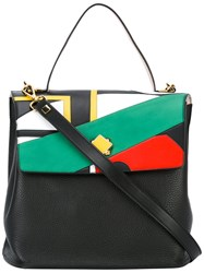 Giancarlo Petriglia Reversible Swallows Pop Inlaid Tote Women Calf Leather One Size Black