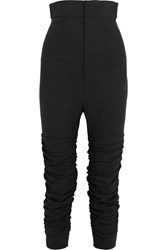 Jacquemus Le Corsaire Fronce Ruched Stretch Wool Skinny Pants Dark Gray