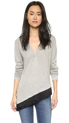 Derek Lam V Neck Sweater With Fringe Grey