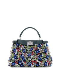 Fendi Peekaboo Small Floral Sequin Satchel Bag Blue Blue Pattern