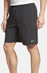 Men's Nike Dri Fit Woven Running Shorts Black Black Silver