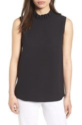 Ming Wang Ruffle Mock Neck Tank Top Black