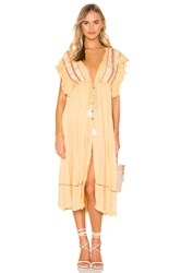 Free People Will Wait For You Midi Dress Yellow