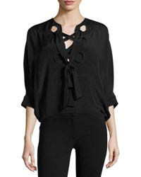 Derek Lam Silk Batwing Tie Neck Top Black