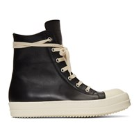 Rick Owens Black Leather High Top Sneakers