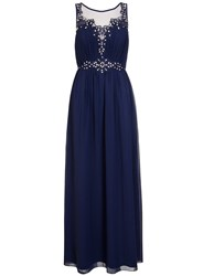 Quiz Navy Chiffon Embroidered Maxi Dress Blue